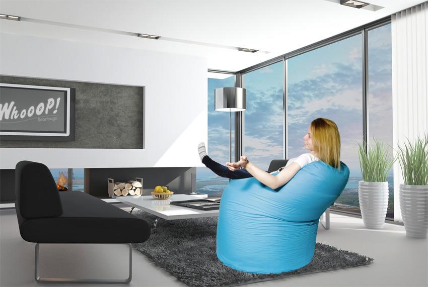 Runder Sitzsack in der Farbe Meeres Blau